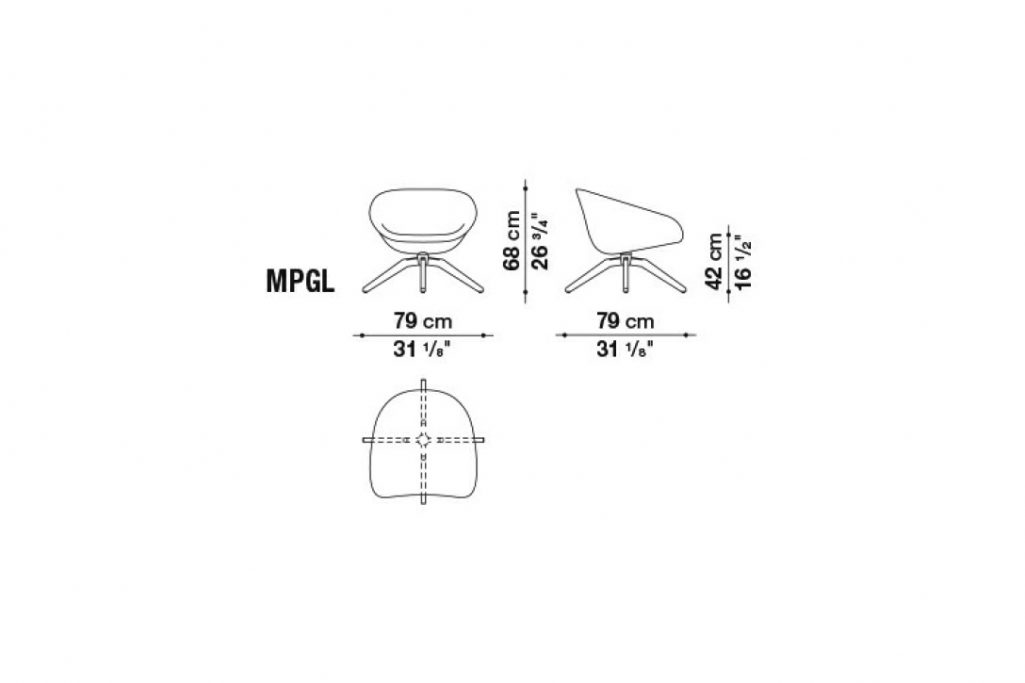 line drawing and dimensions for b&b italia mart armchair model mpgl