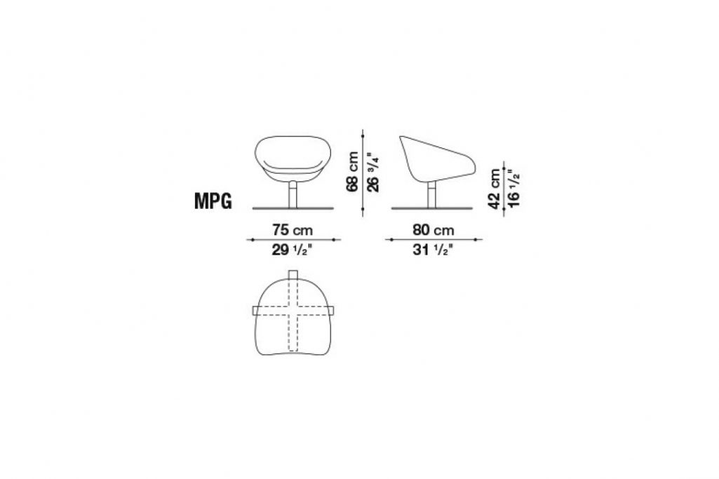 line drawing and dimensions for b&b italia mart armchair model mpg