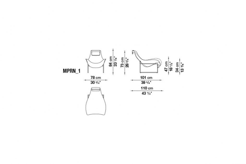 line drawing and dimensions for b&b italia mart recliner model mprn_1