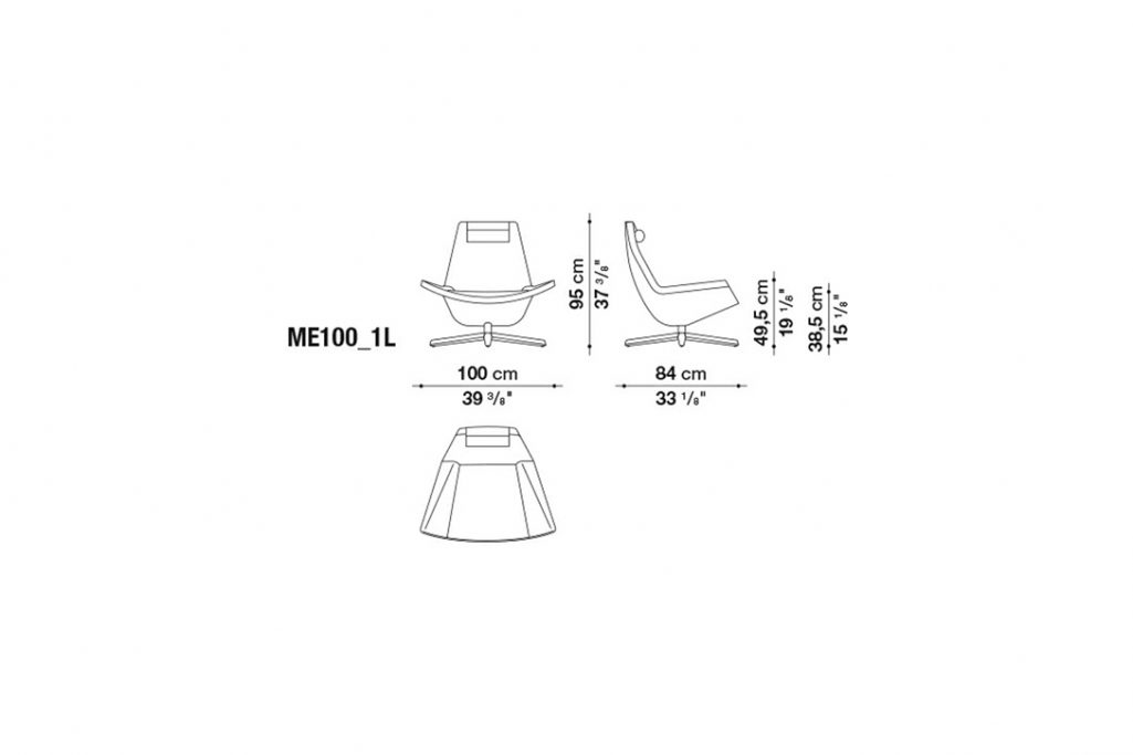 line drawing and dimensions for b&b italia metropolitan armchair model me100_1l