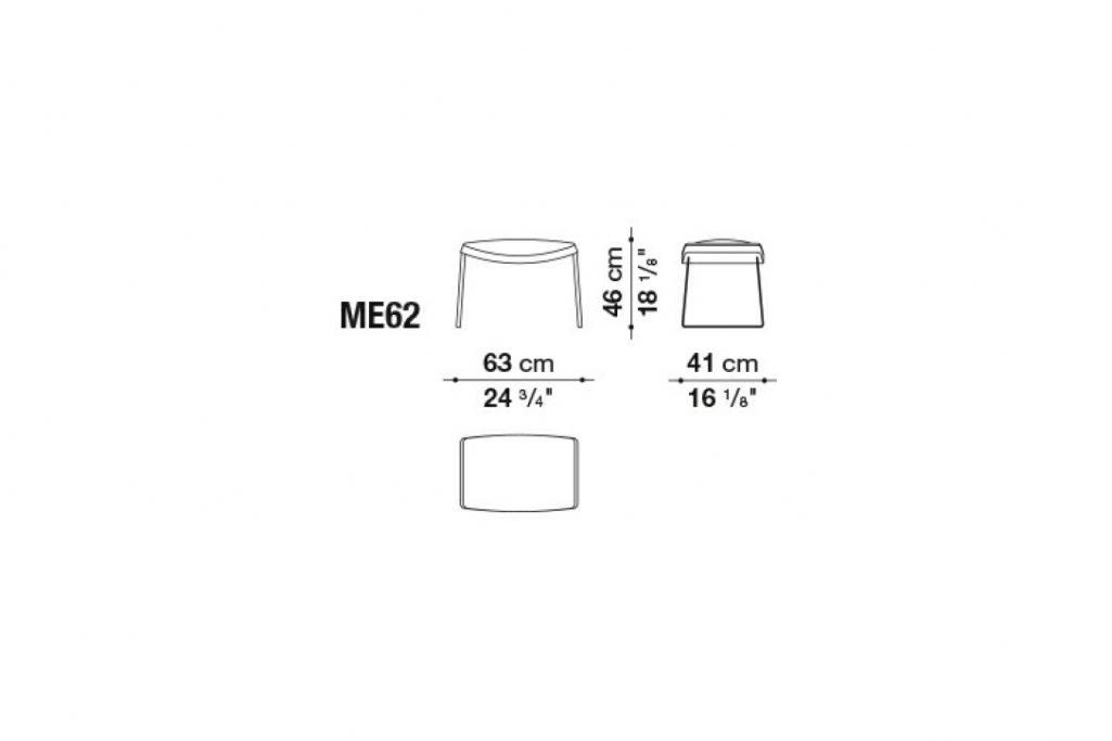 line drawing and dimensions for b&b italia metropolitan ottoman model me62