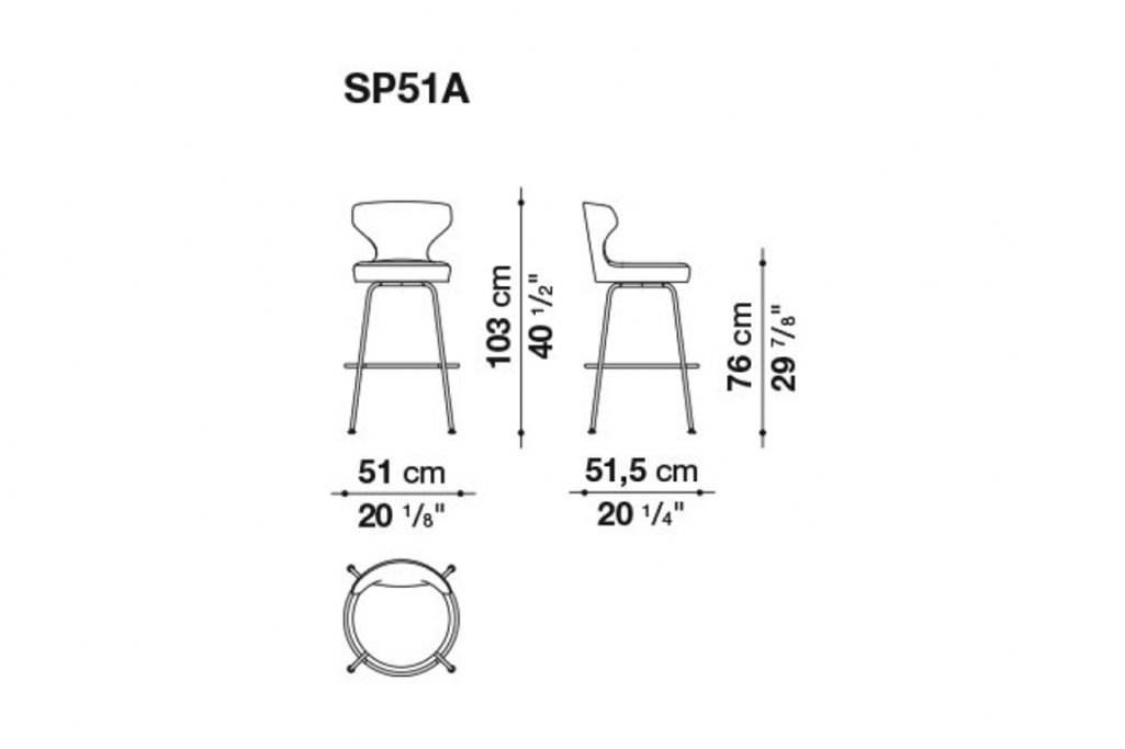 line drawing and dimensions for b&b italia papilio stool model sp51a