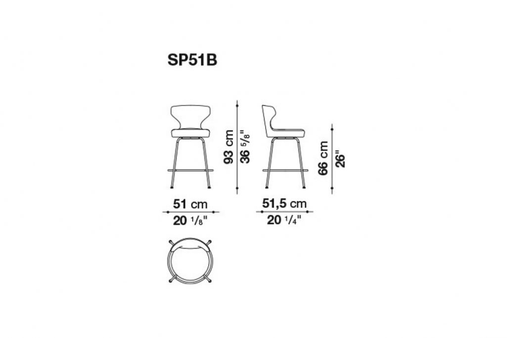 line drawing and dimensions for b&b italia papilio stool model sp51b