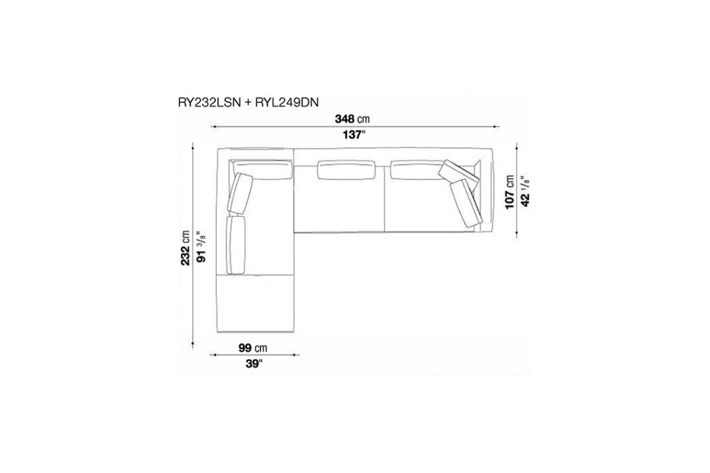 line drawing and dimensions for b&b italia ray sectional left