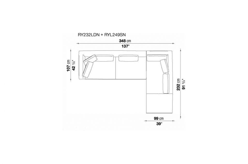 line drawing and dimensions for b&b italia ray sectional right