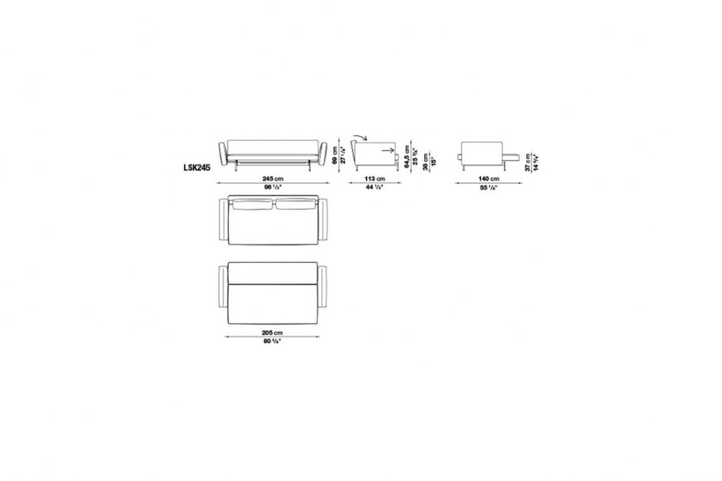 line drawing and dimensions for b&b italia sake sofa bed model lsk245