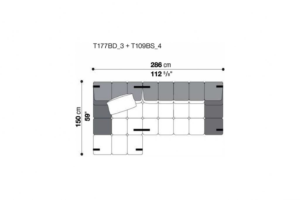 line drawing and dimensions for b&b italia tufty time sofa chaise left