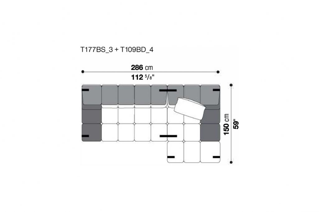 line drawing and dimensions for b&b italia tufty time sofa chaise right