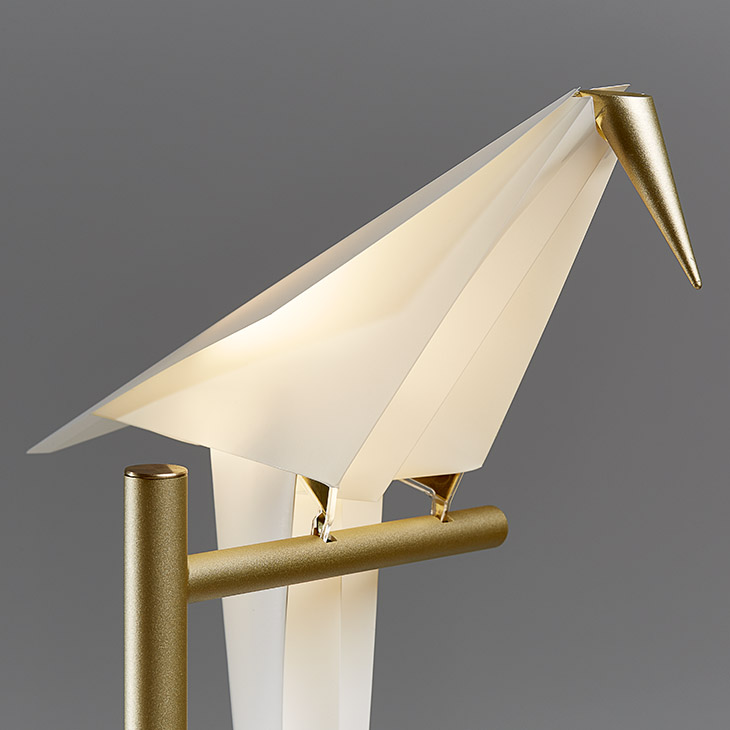 close up of a moooi perch light table lamp on a grey background