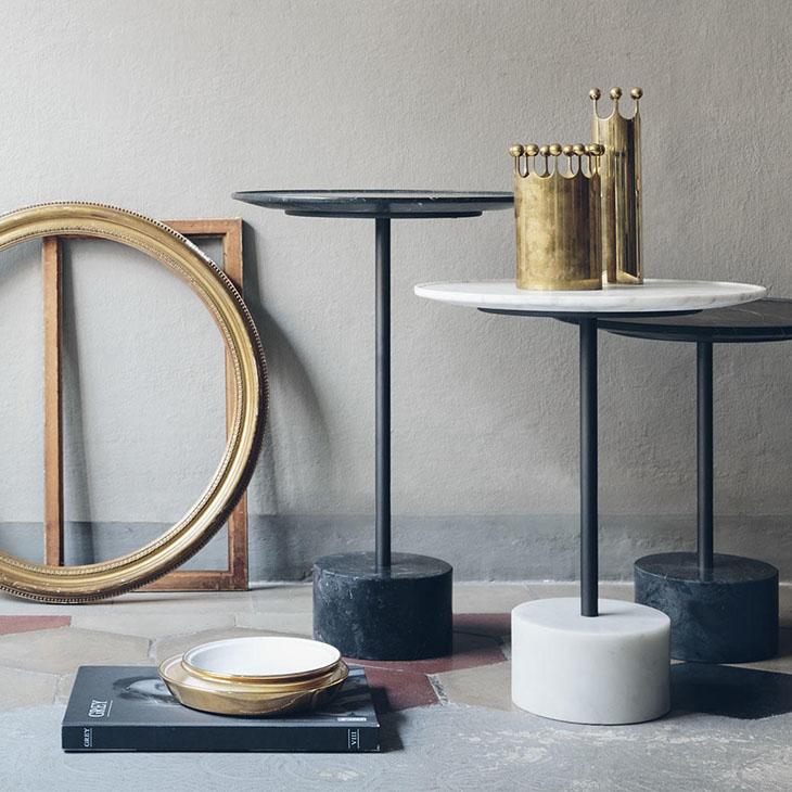 three cassina 9 tables in situ