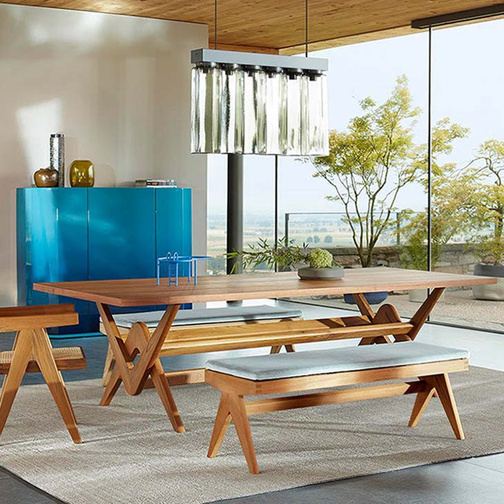 modern dining room featuring a cassina capitol complex dining table