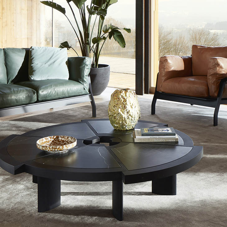modern living room featuring a cassina rio table