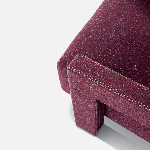 close up of cassina utrecht armchair with blanket stitch
