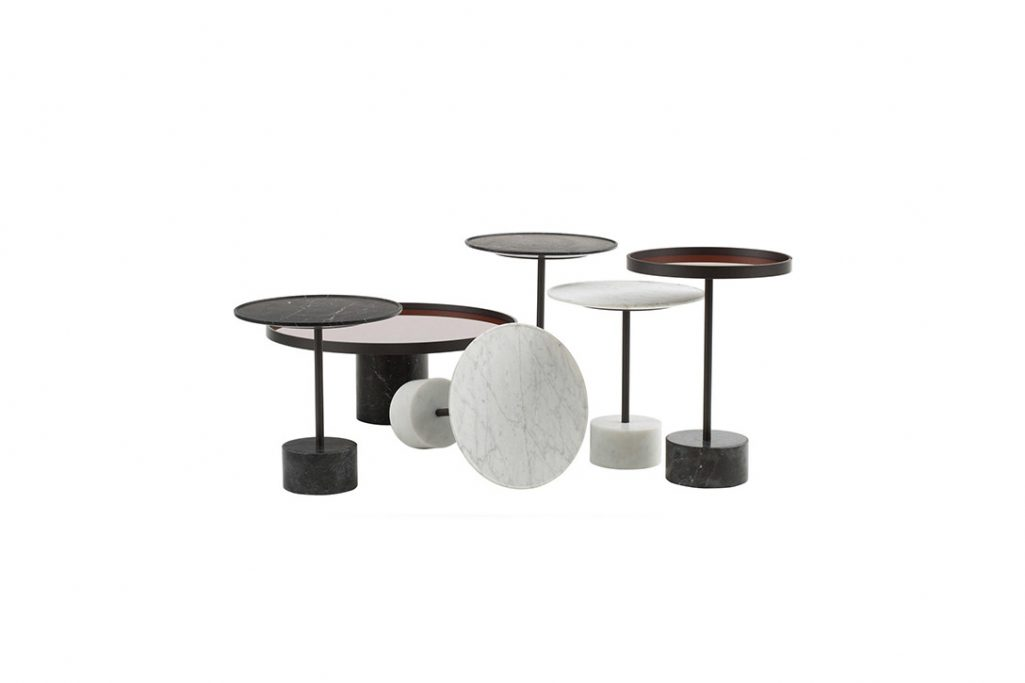 six cassina 9 tables on a white background