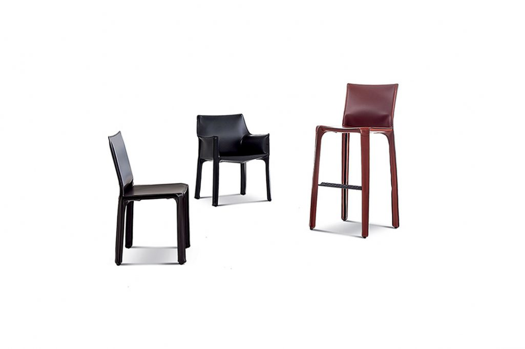 cassina cab stool, cab dining chair, and cab dining arm chair