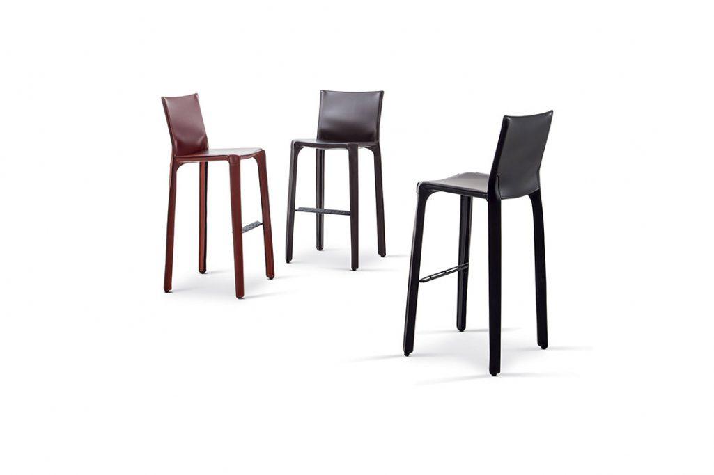 three cassina cab stools