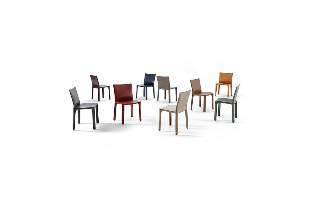 multiple cassina cab dining chairs in an array of colors