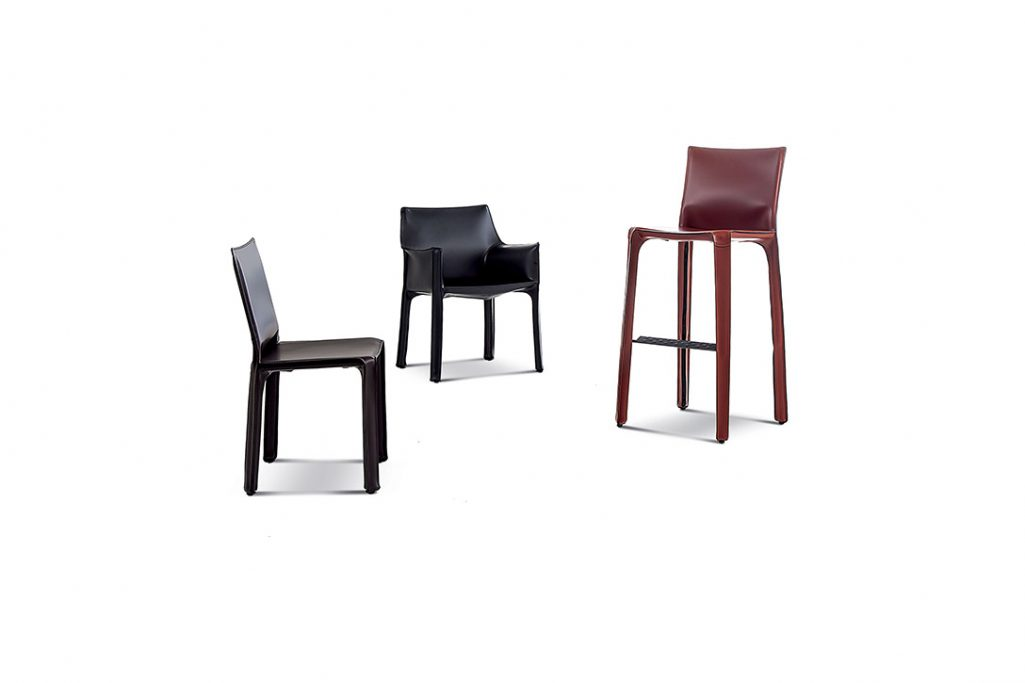 cassina cab bar stool, cab dining chair, and cab dining arm chair