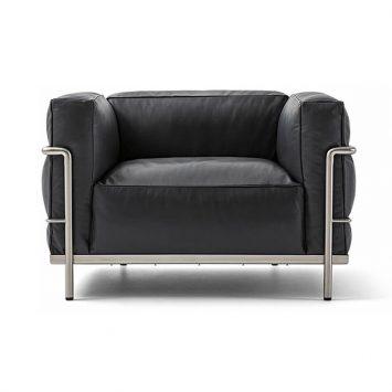 black leather cassina lc3 fauteuil grand confort durable armchair on a white backgroun