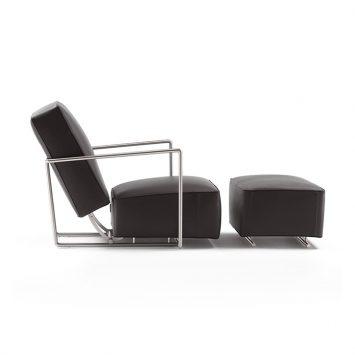 flexform abc armchair and ottoman on a white background