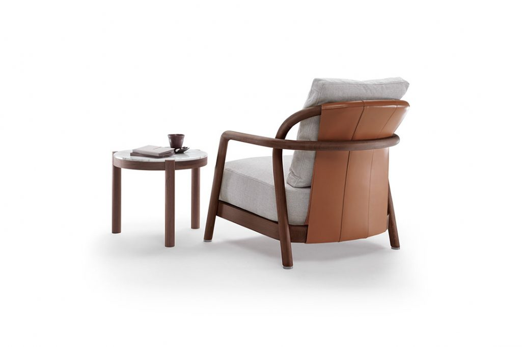flexform alison armchair and side table on a white background