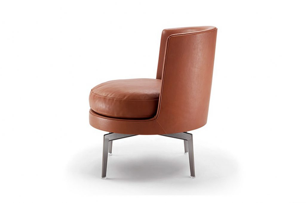 side view of flexform feel good armchair with metal base
