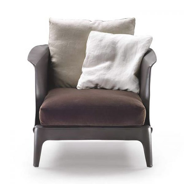 flexform isabel armchair with cushions on a white background
