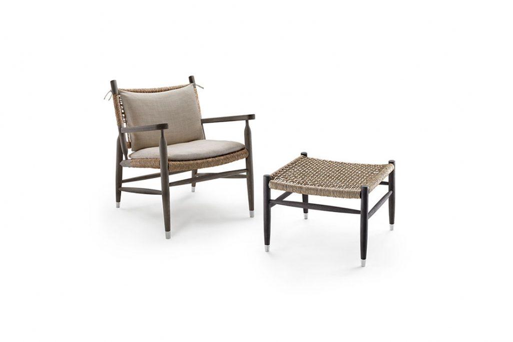 flexform tessa armchair with cushions and ottoman
