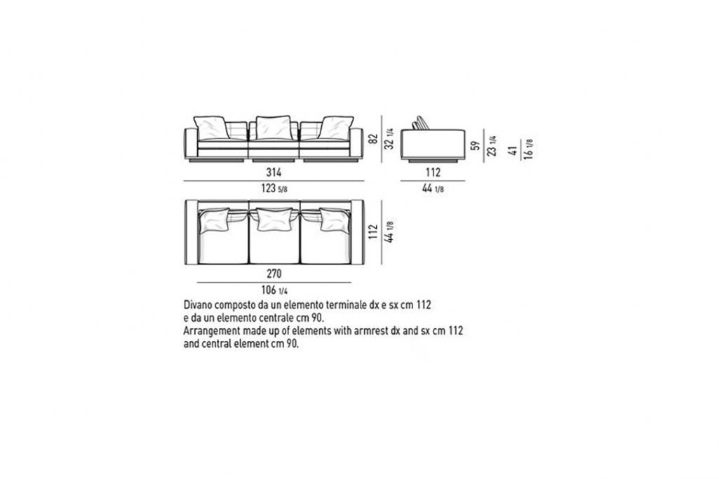 """line drawing and dimensions for minotti lawrence 123"""" sofa high armrest"""