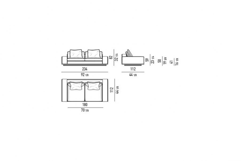 """line drawing and dimensions for minotti lawrence 92"""" sofa low armrest"""