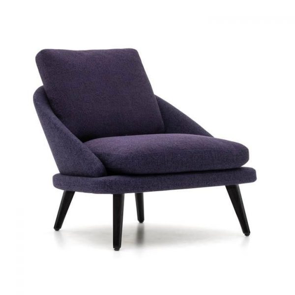 minotti lawson armchair with wood legs on a white background