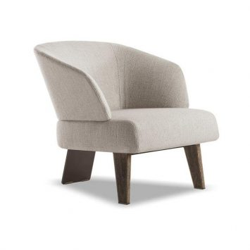 minotti reeves small armchair with fixed base on a white background