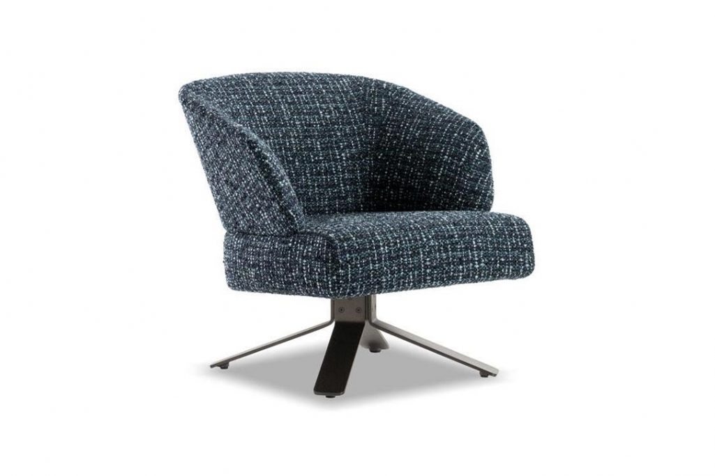 minotti reeves small armchair with swivel base on a white background