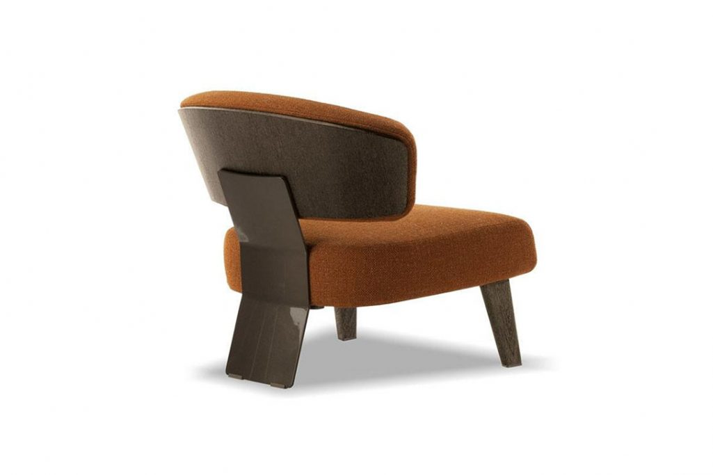 minotti reeves wood armchair on a white background