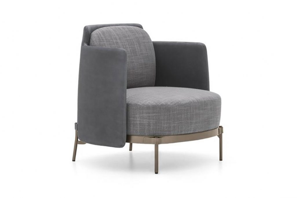 minotti tape armchair on a white background