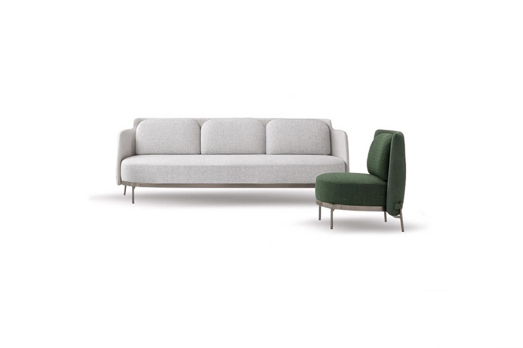 minotti tape sofa and armchair on a white background