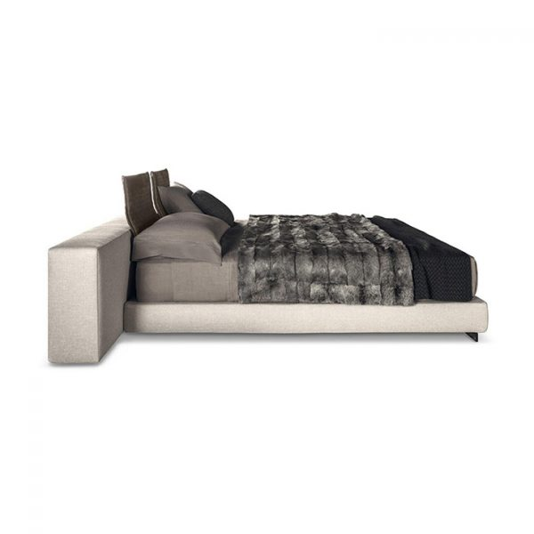 minotti yang bed offset on a white background