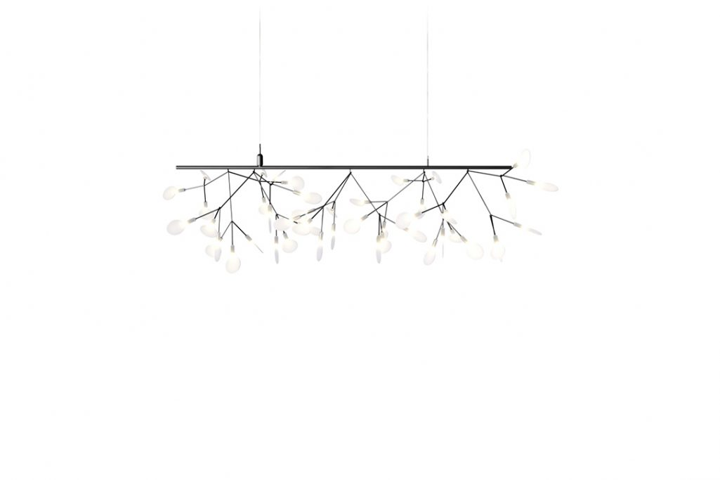 moooi heracleum endless pendant light in nickel on a white background
