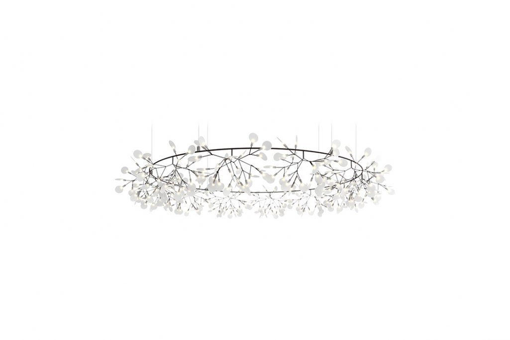 large moooi heracleum the big o pendant light in nickel on a white background