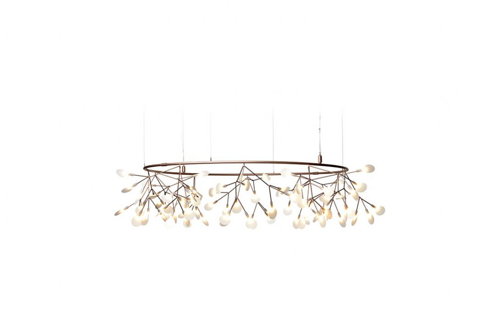 small moooi heracleum the big o pendant light in copper on a white background
