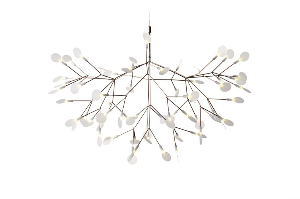 large moooi heracleum II suspended pendant light in copper on a white background
