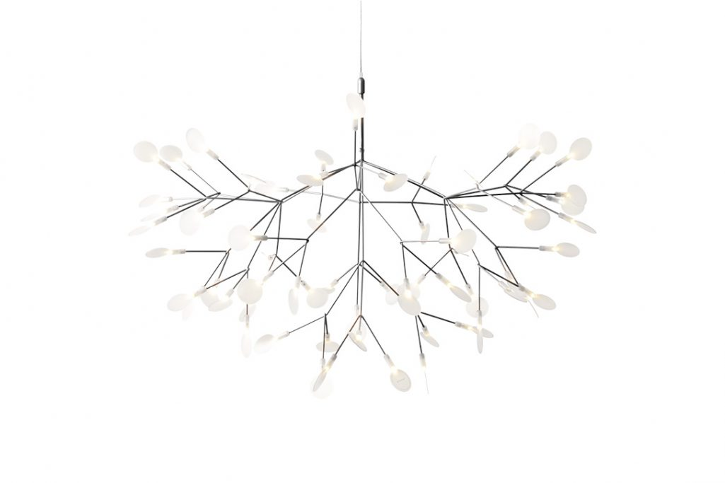 large moooi heracleum II suspended pendant light in nickel on a white background