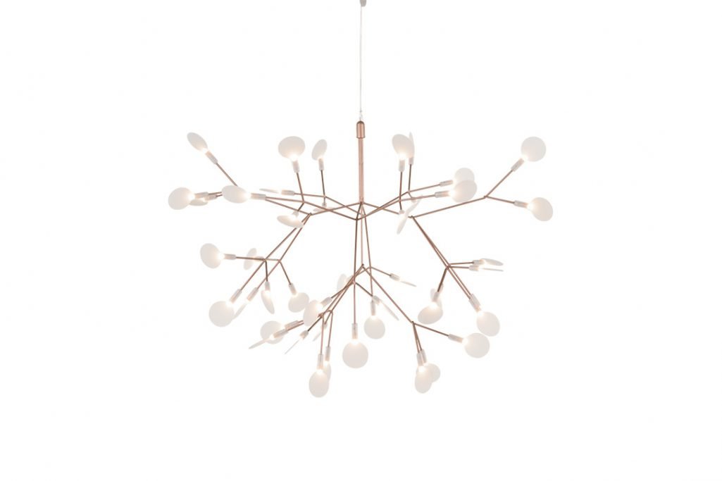 small moooi heracleum II suspended pendant light in copper on a white background