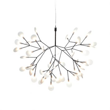small moooi heracleum II suspended pendant light in nickel on a white background