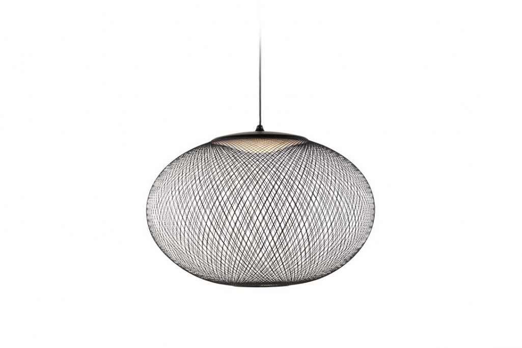 black moooi nr2 pendant light medium on a white background