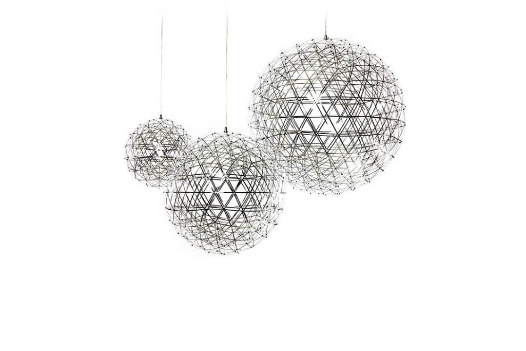 three moooi raimond pendant lights clustered on a white background