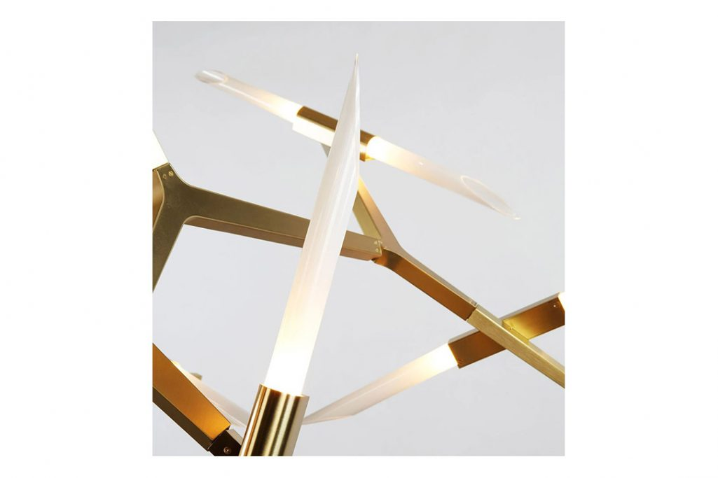 roll & hill agnes pendant light in brushed brass with angle-cut glass