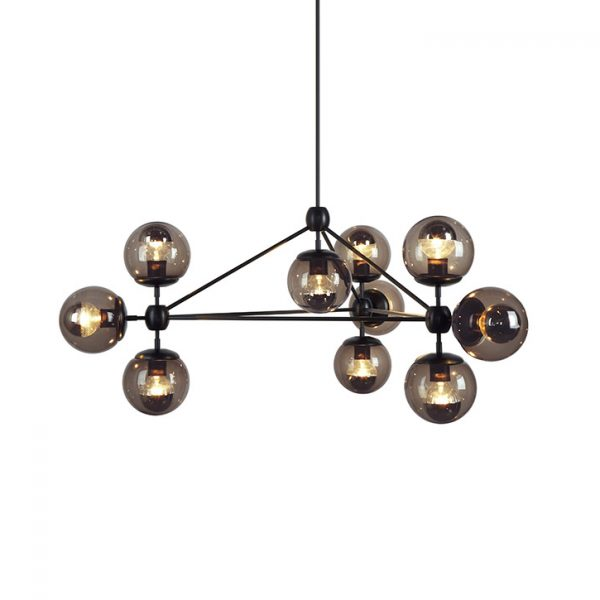roll & hill modo pendant light chandelier 3 sided black