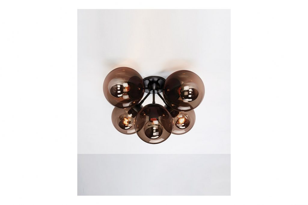 roll and hill modo ceiling light black and smoke