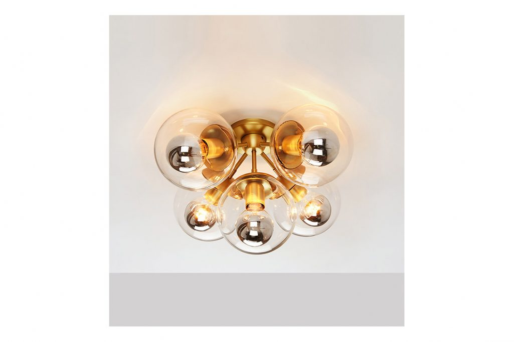 roll and hill modo ceiling light brass and clear